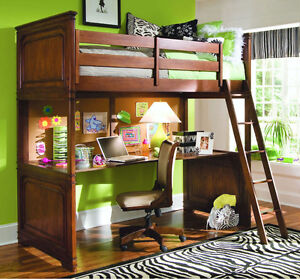 Solid Wood Full Size (Double ) Loft Bed and Desk W Mattress Incl