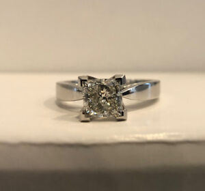 Certified and Inscribed White Gold Princess Cut Solitaire Engage