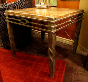 Wrought Iron and Stone Table - Visa/MCard Available