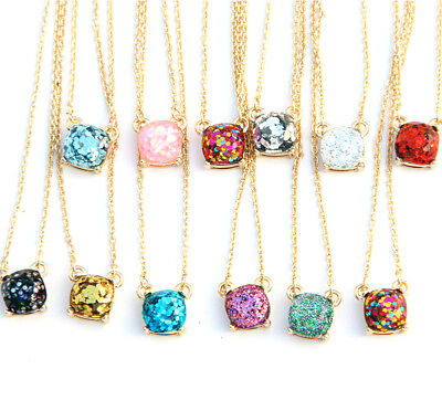 14 Colors Female Rainbow Glitter Gold Small Square Studs Choker Necklace - Stud Choker