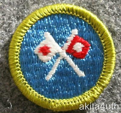 BSA Signaling Merit Badge -  Discontinued Type H  - Boy Scout Blue Backing