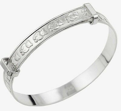 Solid 925 Sterling Silver Adjustable Baby's Christening Bangle Bracelet Gift Box
