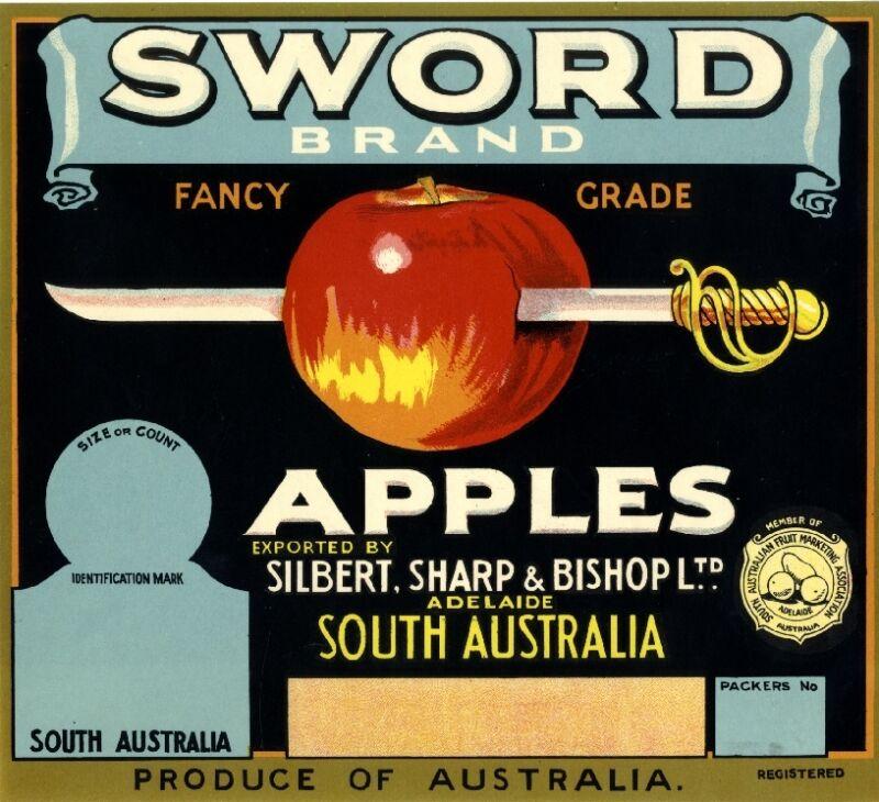 Adelaide South Australia Sword Apple Fruit Crate Label Art Print