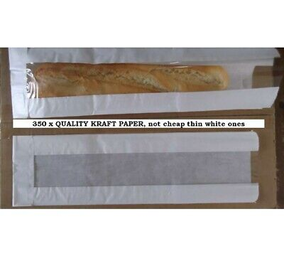 350 Clear Film front Baguette QUALITY KRAFT Paper Bags 4x6x14