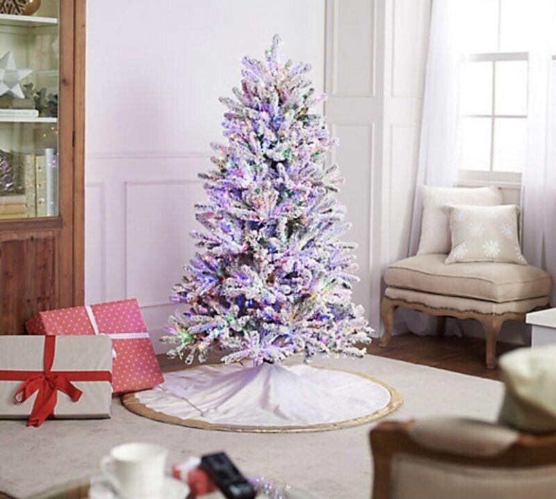 Santa's Best Starry Light 5' Flocked Multi-function Microlight Christmas Tree