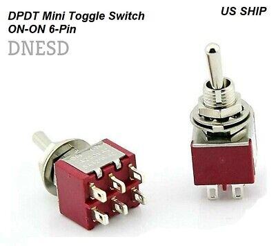 1pc Dpdt Mini Toggle Switch On-on Solder Lug High Quality 5a 120v 3a 250v