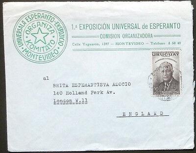 Esperanto – Brief 1-a Universala E-Ekspozicio Montevideo Uruguay 1954