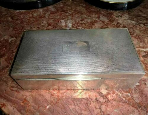 Antique Sterling Silver Cigarette Hinged Lid Box.