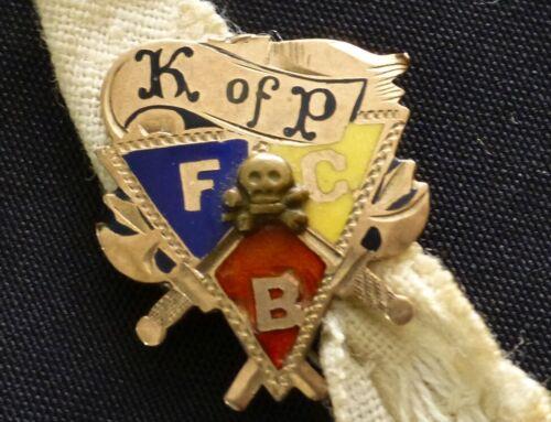 Vintage Skull & Crossbones Knights of Pythias FCB 10K Gold & Enamel Charm