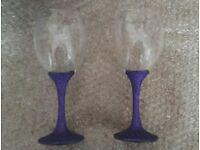 2 Beautiful Purple Glitter Stem Wine Glasses - Brand New. Lovely Gift.