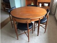 G plan round fresco table and 4 leather original chairs