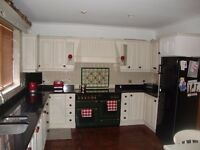 Hand painted kitchen units with black granite worktop