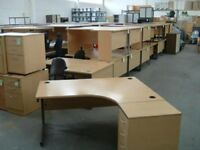 Lexus R/H Radial Beech Office/Home Desk & Matching Pedestal - Free Delivery & Free Assembling