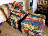 Lovely over sized armchair and ottoman
