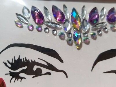 Halloween Rave Makeup (Festival Halloween Rave Face Stick-On Jewels Chrystal Gems Rhinestone)