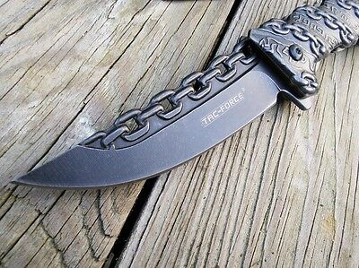 """8.25"""" TAC FORCE CHAIN SPRING ASSISTED Open Folding Pocket Knife Combat Tactical"""