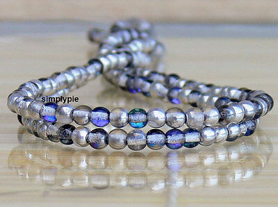 50 Silver Blue Crystal Czech Glass Beads 4mm Druk Round New Arrivals