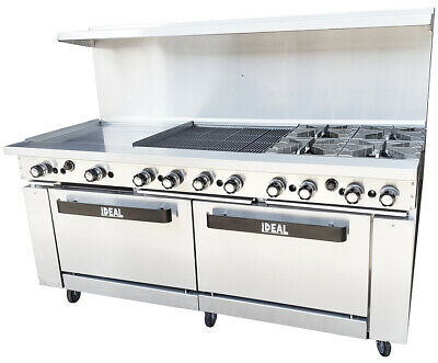 New 72 Range With Griddlebroiler 4 Burners 2 Ovens Etl Made In Usa By Ideal