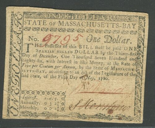 FR. MA-278 May 5, 1780 $1 Massachusetts Colonial Note UNCANCELLED Crisp AU! U125
