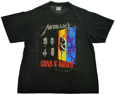 Vtg Guns N Roses Metallica T Shirt Concert Tour 1992 90s Rock Metal