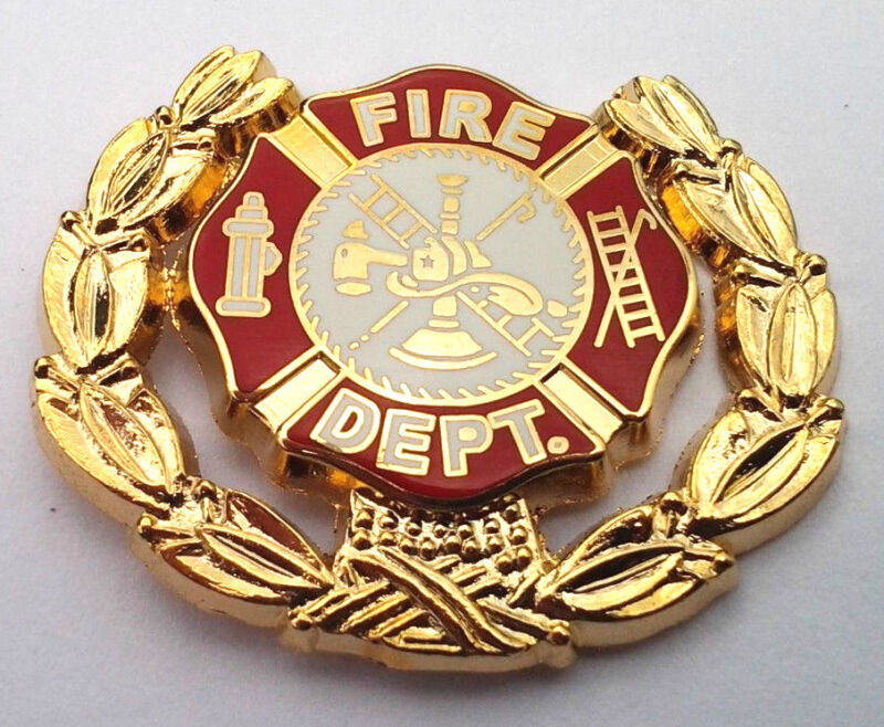 """FIRE DEPT. LOGO WITH WREATH FIREFIGHTER (1-1/8"""") Hat Pin 6902 HO"""