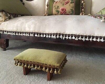 Gorgeous Vintage Victorian Style Green Velvet Upholstered Foot Stool