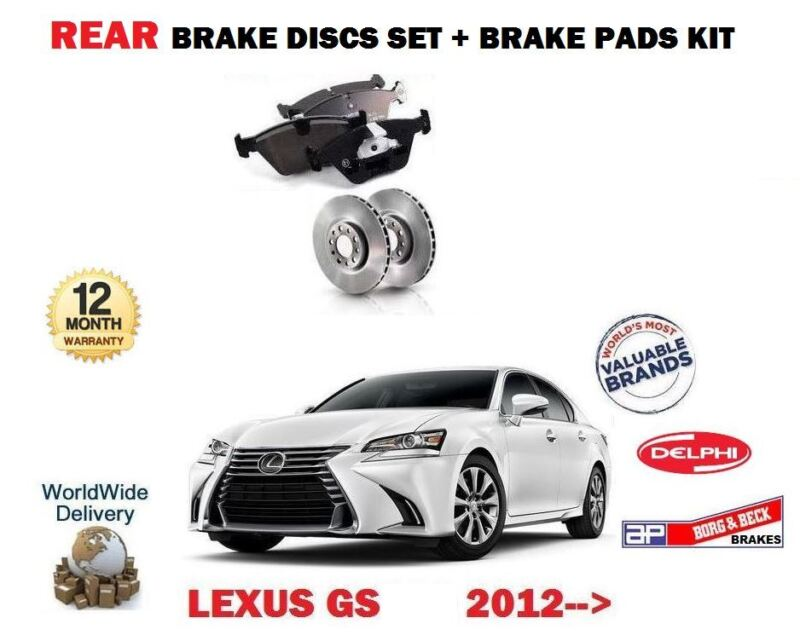 FOR LEXUS GS250 GS300H GS450H HYBRID 2012-> REAR BRAKE DISC SET + DISC PADS KIT