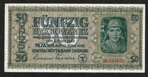 UKRAINE GERMAN OCCUPATION WWII 50 KARBOWANEZ 1942 P#54 VF+/ XF