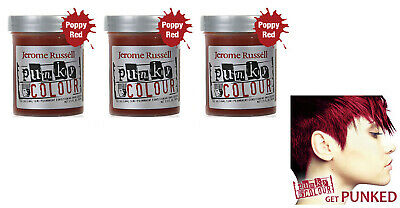 3 X Jerome Russell Punky Colour Semi-Permanent Hair Color 1426 Vermillion Red