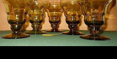 "5 Vintage Green Glass Parfait Dessert Footed Glasses 5"" tall"