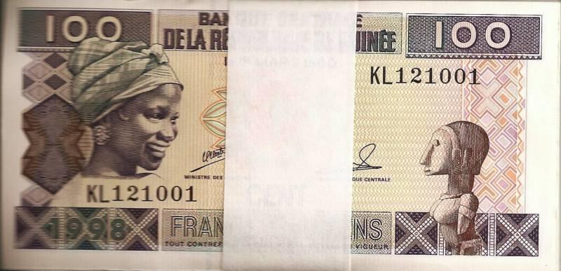 1998 Guinea 100 Francs Uncirculated Bundle 100 Notes