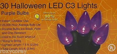 Halloween 30 Purple LED C3 String Lights Lighted Length 7.5 ft Black Wire NIB