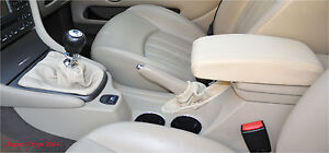FITS JAGUAR CREAM X TYPE 2001-2009 LEATHER GEAR & HANDBRAKE GAITERS