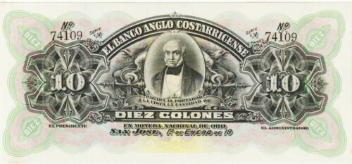 """Costa Rica,10 Colones Banknote 1900s Choice Uncirculated,P#S-123-R""""Free Ship"""""""