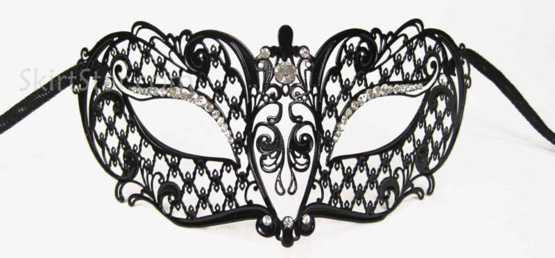 LASER CUT VENETIAN MASK masquerade costume BLACK NEW PROM ball fancy dress metal