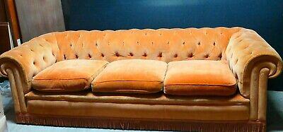 Chesterfield 235 cm de qualité velours orangé sofa divan canapé