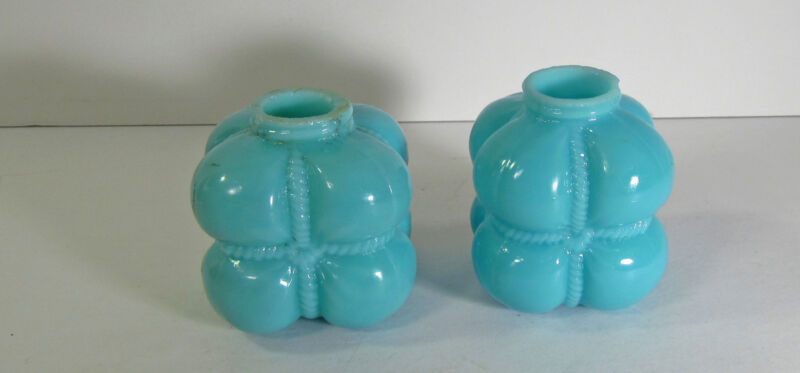 """PAIR OF CONOSLIDATED """"COTTON BALE"""" BLUE OPAQUE GLASS SHAKERS"""