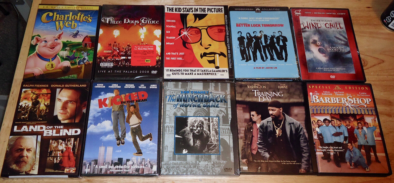 DVD Lot of 10 Wind Chill/Training Day/Barber Shop/Land of the Blind/Charlotte's