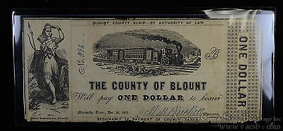 Obsolete Bank Note  1 One Dollar 12 16 1862 Blount County Maryville Tennessee Tn