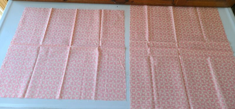 Vintage Cotton Pink Flowered Feedsack Fabric Quilters Stock Pile 2 Pieces