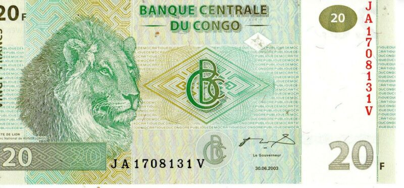 CONGO 2003 20 FRANCS CURRENCY UNC