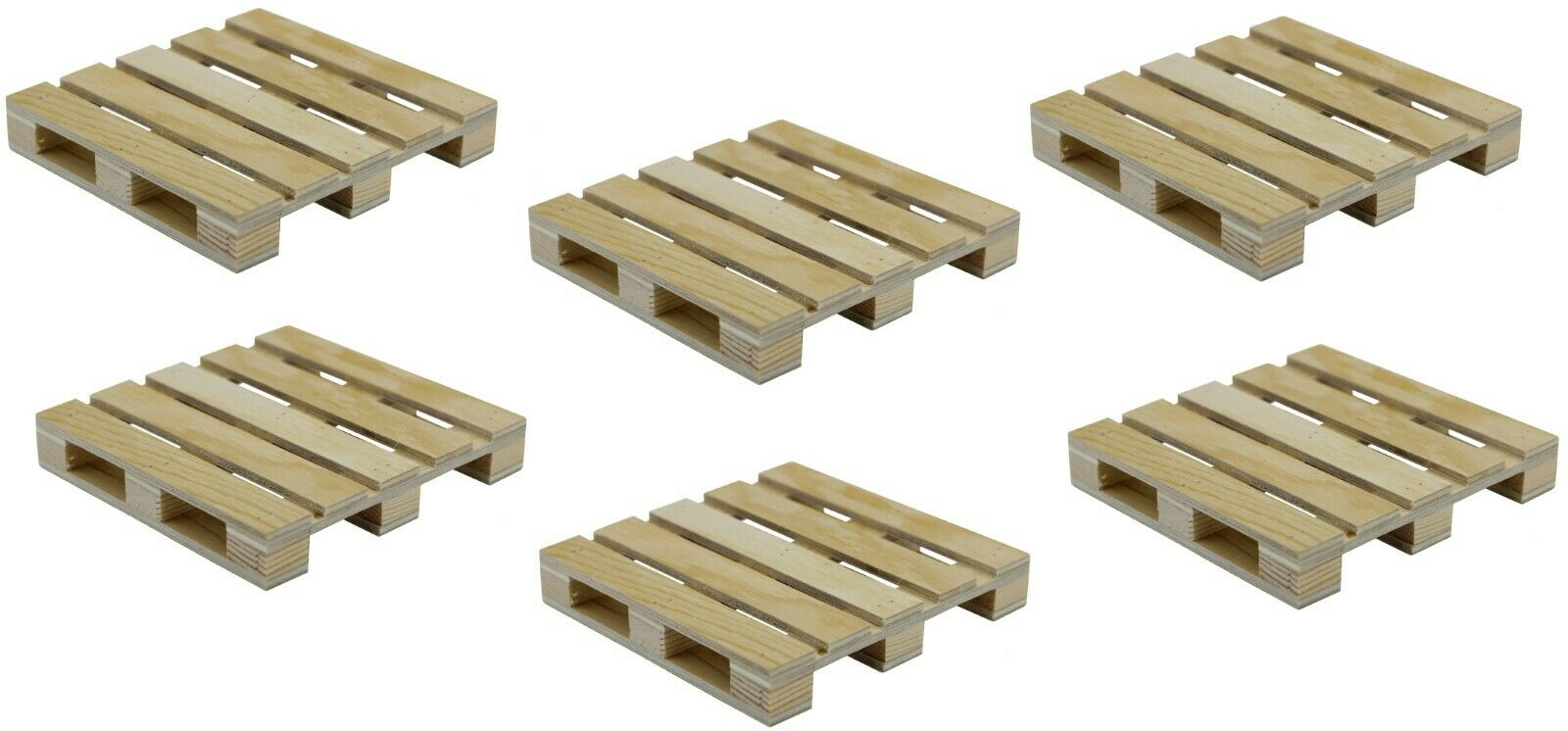 6-Pack Mini Wood Pallet Coasters for Beverages, Hot and Cold Drinks, Mini Blocks Crafts