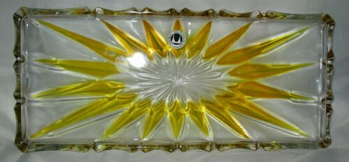 """Vintage Original WALTHER GLASS TRAY~GOLDEN STARBURST ART DECO STYLE 13"""" ~Germany"""