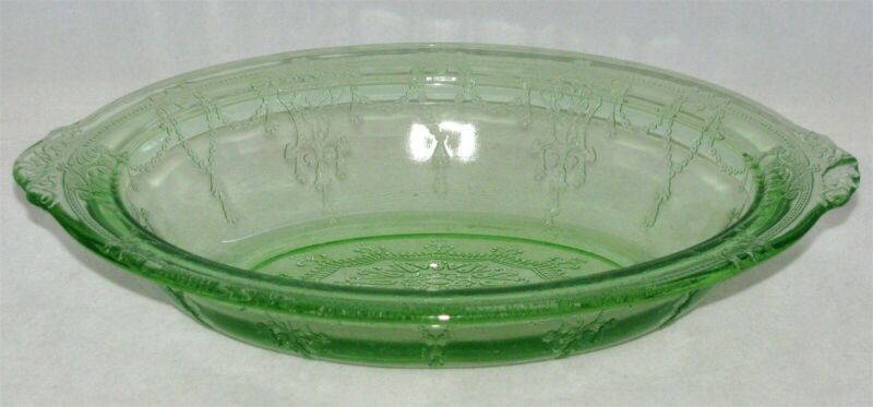 """Anchor Hocking CAMEO GREEN Depression Glass Swags Floral 10"""" VEGETABLE BOWL"""