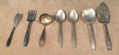 Vintage Harmony House Plate AA Serving Spoons Fork Ladle Knife Gravy Lot of 7