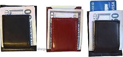 Lot of 3 New Lambskin Leather money Clip, Magnetic money clip. leather case BNWT ()
