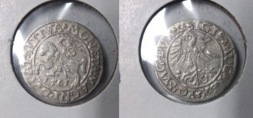 1561 Lithuania- Silver 1/2 Grosz- Armored Knight - 450 years old #2-Nice