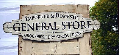 "Large 31.5"" Country General Store Wood SIGN~Farmhouse Wall Rustic White Kitchen"