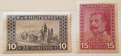 BOSNIA AND HERZEGOVINA 1917 SG413 10h black, SG414 15h red M/M stamps (No358)