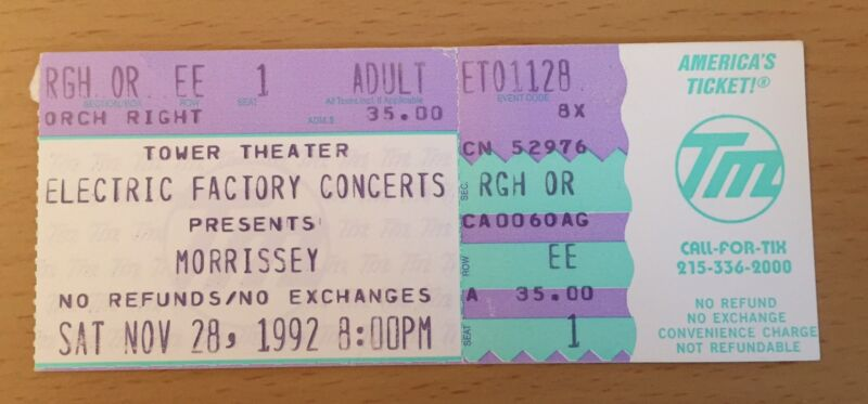 1992 MORRISSEY PHILADELPHIA CONCERT TICKET STUB HOW SOON IS NOW THE SMITHS